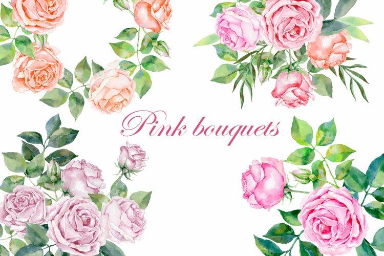 Watercolor flower arrangements of pink bouquets