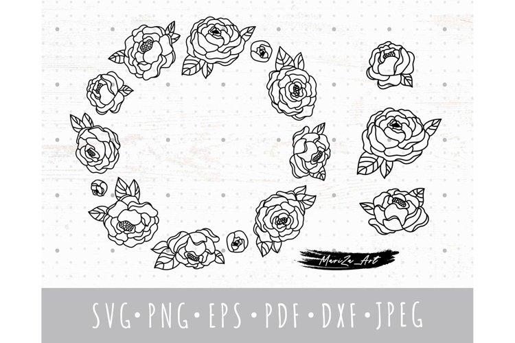 Floral Frame SVG, Peony wreath svg & png clipart