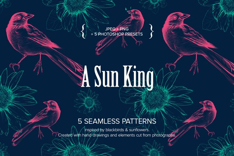 A Sun King - 5 Seamless patterns with blackbirds & sunflower example image 1