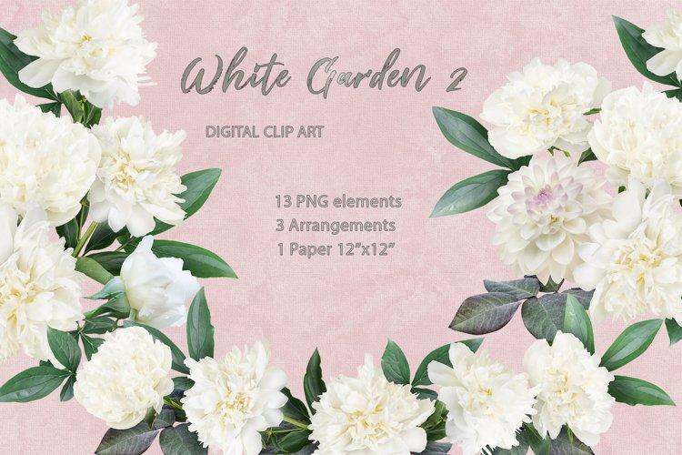 White peony clipart. Floral arrangements.