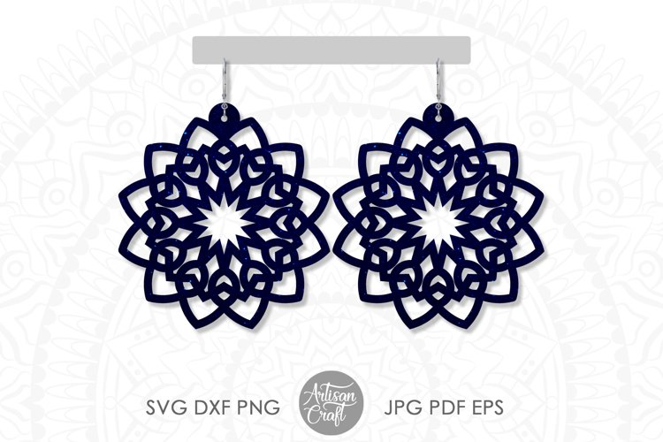 Mandala earring svg, earring template, faux leather earrings example image 1