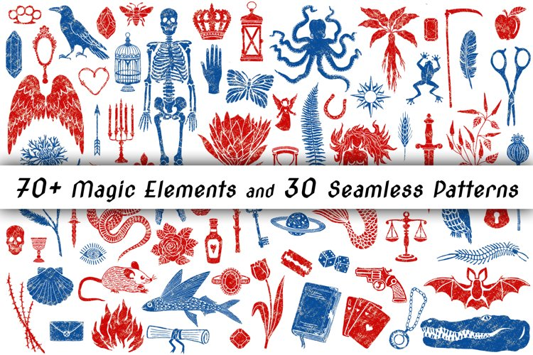 70 Magic Elements and 30 Seamless Patterns