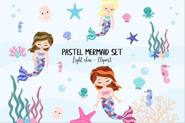 Pastel Mermaid Set - Light Skin Clipart