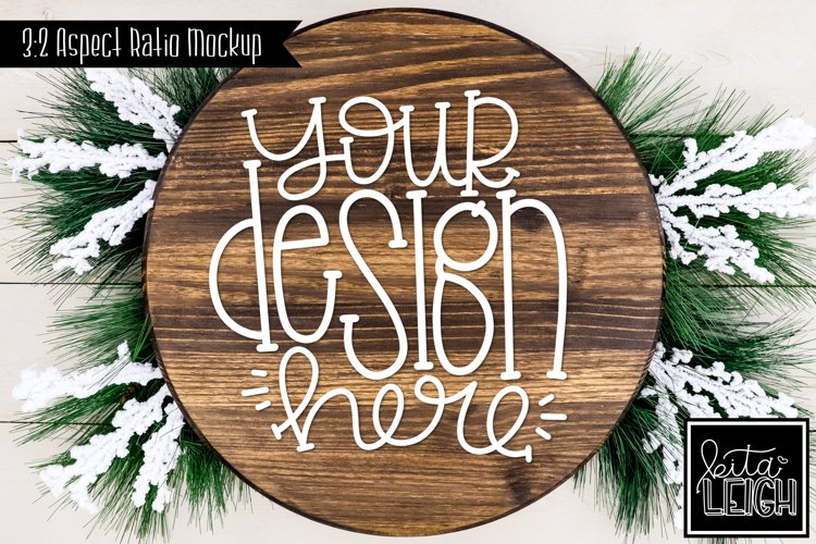 Wood Round Christmas Mockup with Snow Accents example image 1