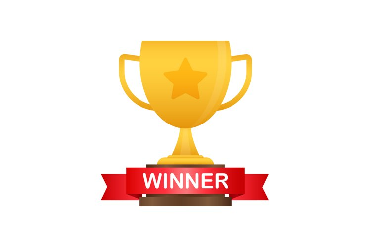 Winner cup banner. Congratulations. Triumph prize. Victory example image 1