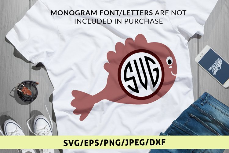Cute Fish - Animal SVG EPS DXF PNG Monogram Cutting Files example image 1