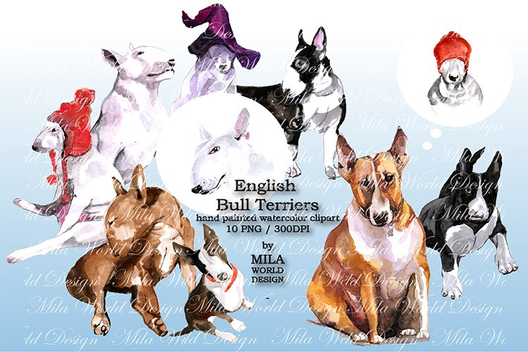 Watercolor English Bull Terriers clip art example image 1