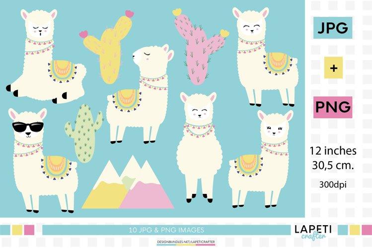 Llama clipart, llama birthday png, happy llama stickers example image 1