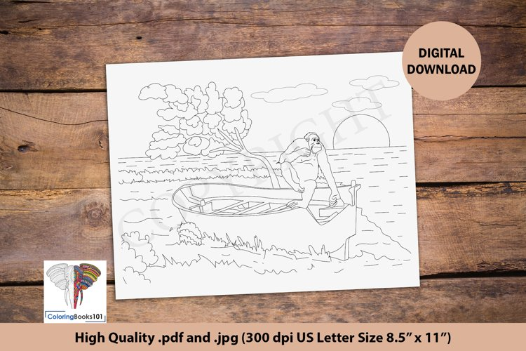 Chimpanzee on the Boat on a Beach Coloring Page for Adult