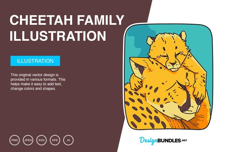 Cheetah Family Vector Illustration