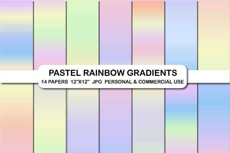 Pastel rainbow gradients digital papers Background papers