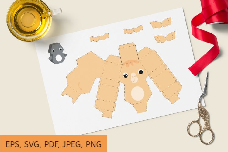 Cute Gift Package Camel Template SVG, Gift Box SVG example image 1