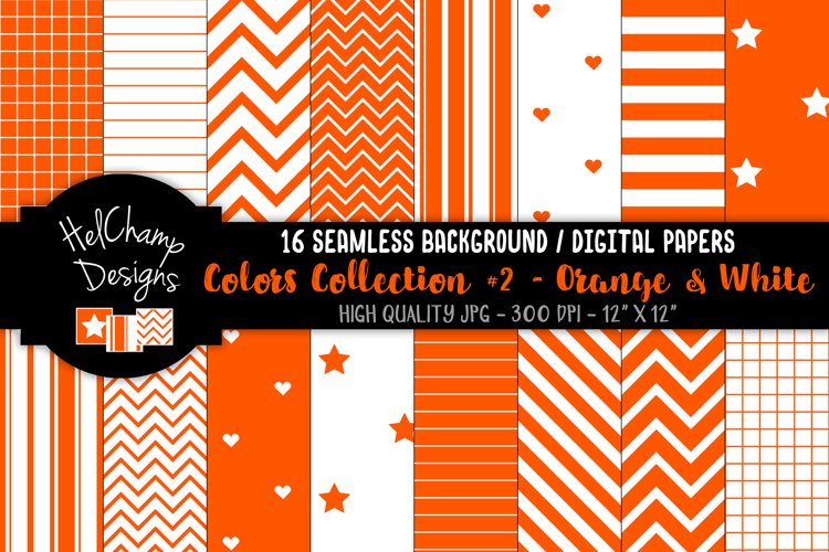 16 seamless Digital Papers - Orange and White - HC115 example image 1