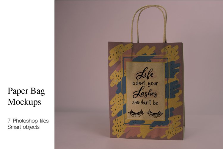 Craft Paper Shopping Bag Mockups. 7 PSD files, smart objects example image 1