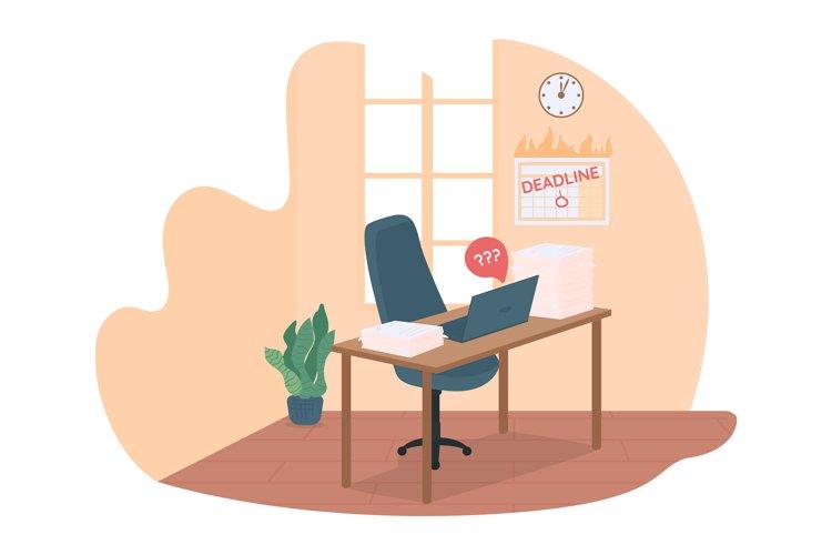 Work deadline 2D vector web banner, poster example image 1
