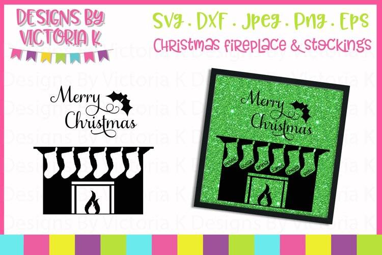 Christmas Fireplace, 6 Stockings SVG Cut File example image 1