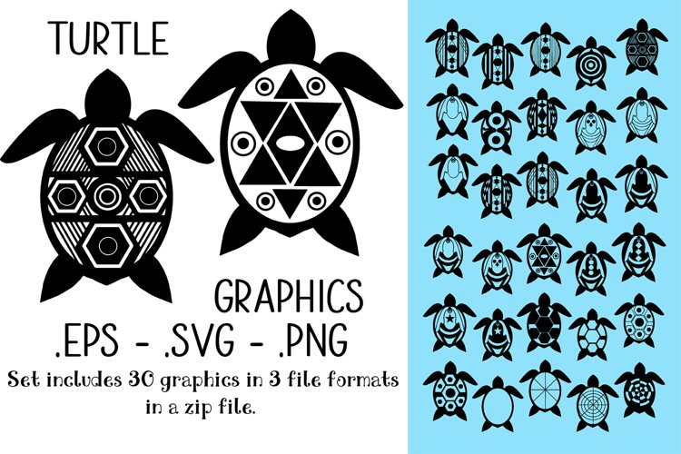 Turtle Graphics Pack - 30 Graphics in eps/svg/png format