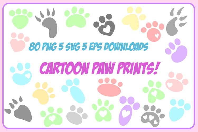 Cartoon Animal Cat Dog Paw Foot Prints SVG EPS PNG Download example image 1