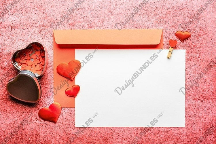 Valentines Day Mockup Flat lay Template. Red hearts decor.