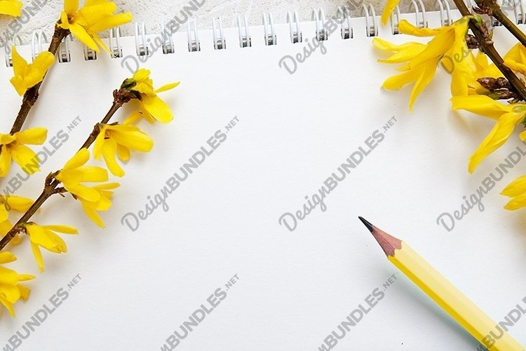 Spring blank sheet with pen and flowers example image 1