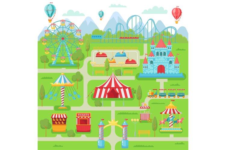Amusement park map. Family entertainment festival attraction example image 1
