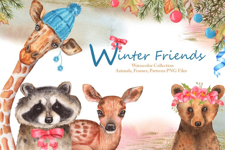 Winter Friends Watercolor Collection example image 1