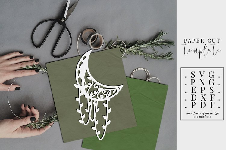 Crescent moon 1 papercut template, floral paper cut, SVG PNG example image 1
