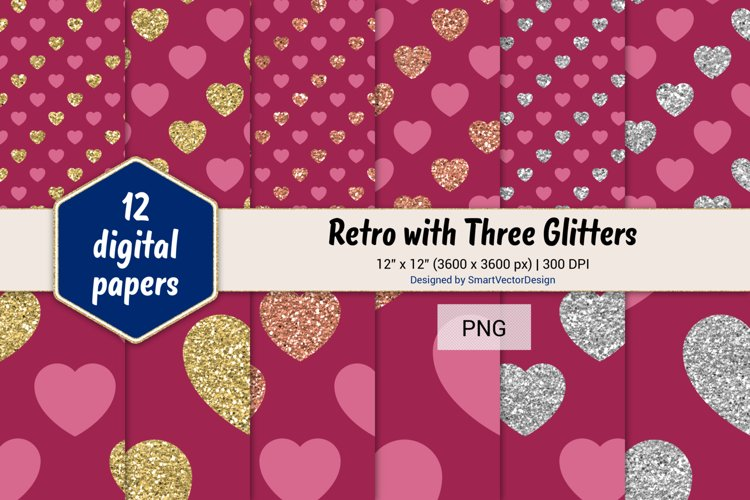 Hearts Retro with Three Glitters Color Combo #15 example image 1