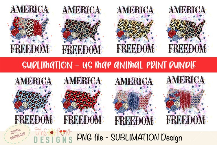 Sublimation Bundle US map animal print glitter