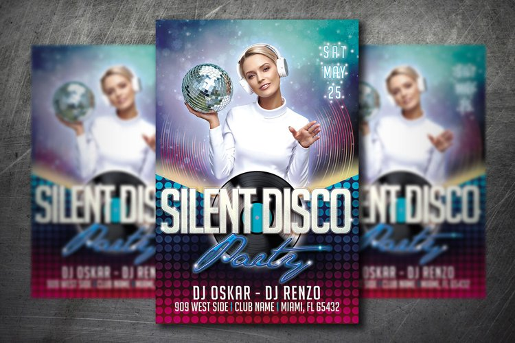 SILENT DISCO PARTY FLYER|Summer Festival Flyer | Template example image 1