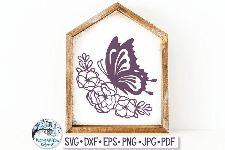 Butterfly with Flowers SVG Cut File