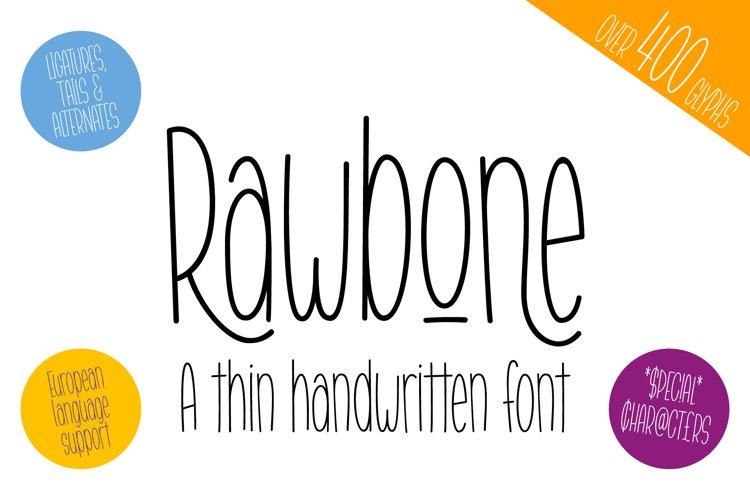 Rawbone - a thin handwritten font example image 1
