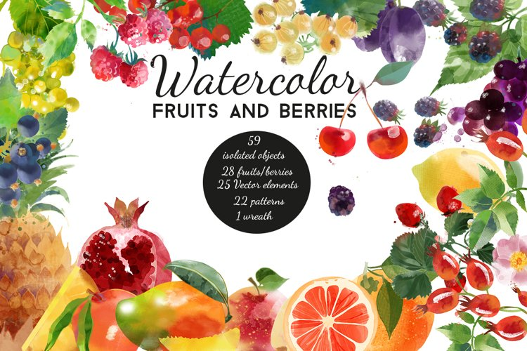 Watercolor fruits and berries example image 1