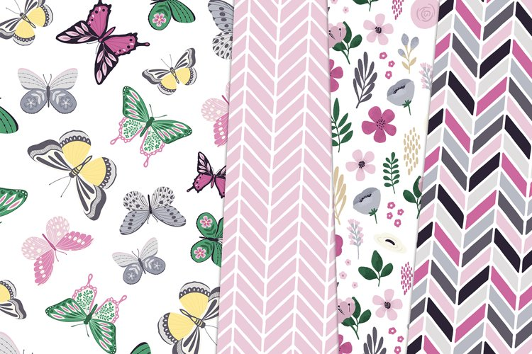 Butterfly Spring Floral Digital Paper Clipart Bundle example 2