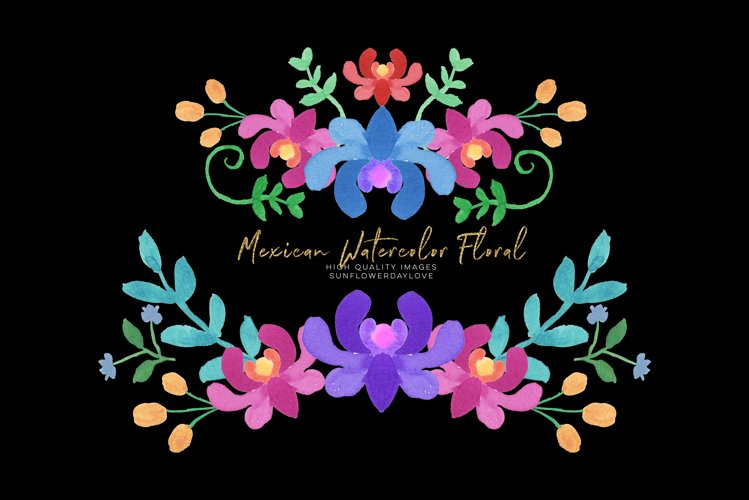 Blue Mexican Floral Clipart, Flowers Fiesta clip art