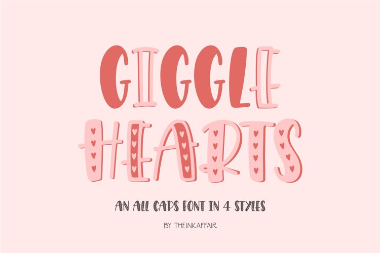 Giggle Hearts, An adorable valentine day font example image 1