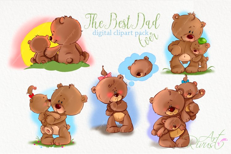 Cute teddy bears with Dad clipart Fathers Day clip art.
