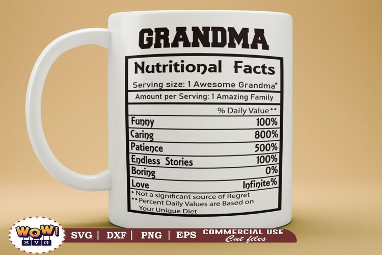 Grandma nutrition facts svg, Granny nutritional facts svg