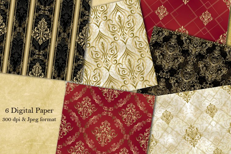 Seamless Damask Digital Papers. Collection of papers. example image 1