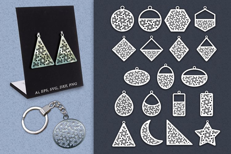 Hanging elements with geometric patterns. SVG