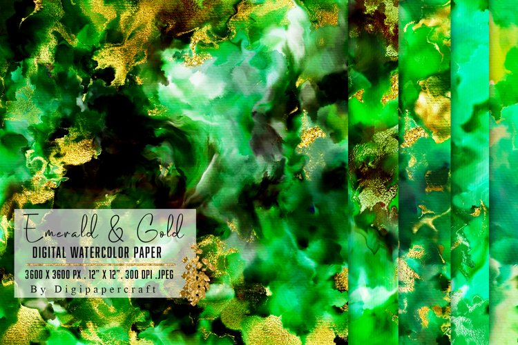 Emerald and Gold watercolor backgrounds, green watercolor example image 1