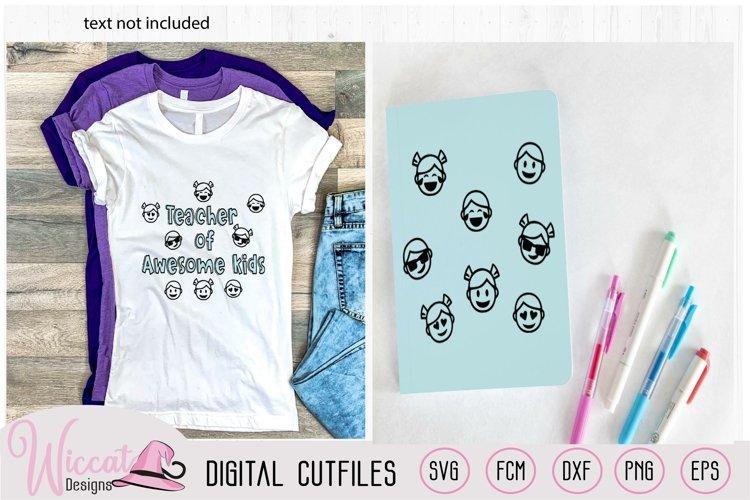Kids emoji faces, boy faces, girl faces