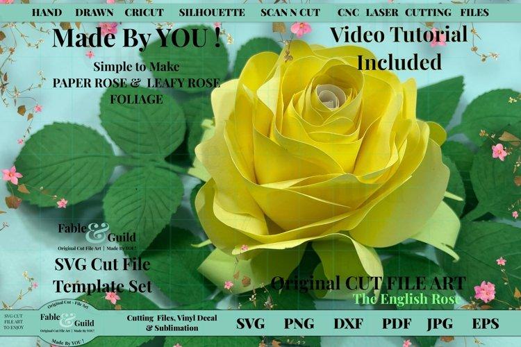 3D Paper Flower Rose Template SVG Leaves inc VIDEO TUTORIAL