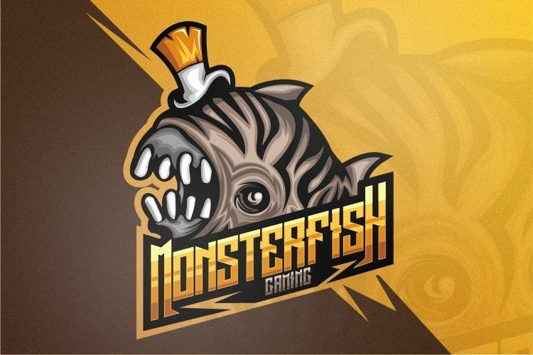 Monster fish gaming logo design vector