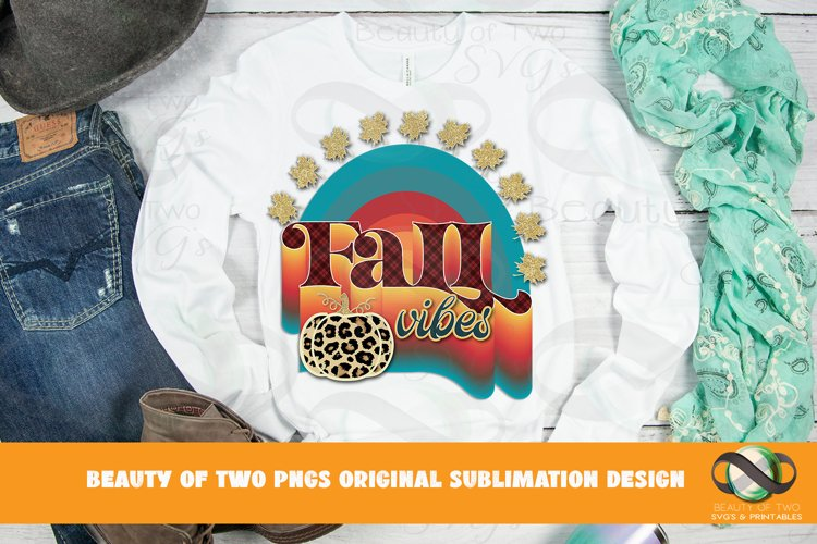 Fall Vibes Rainbow Sublimation png Retro Leopard Pumpkin png