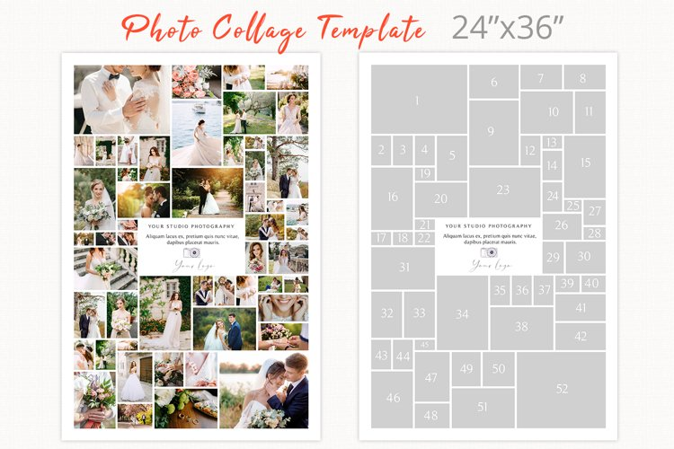 Poster size photography collage template, 24 x 36 photoshop