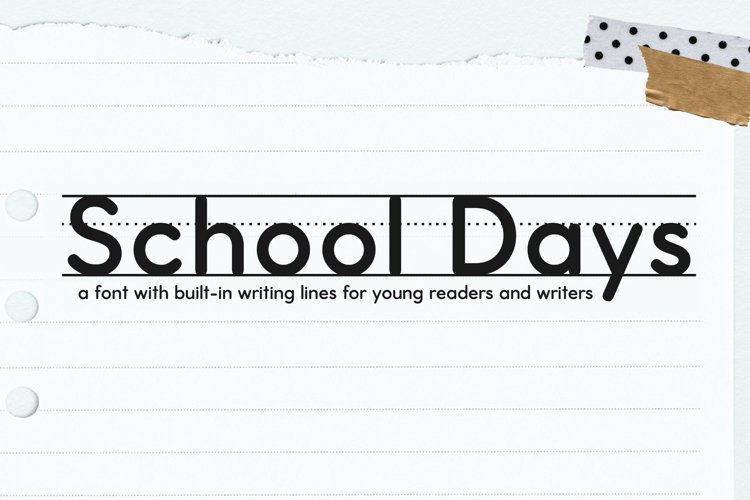 School Days Font with Writing Lines example image 1