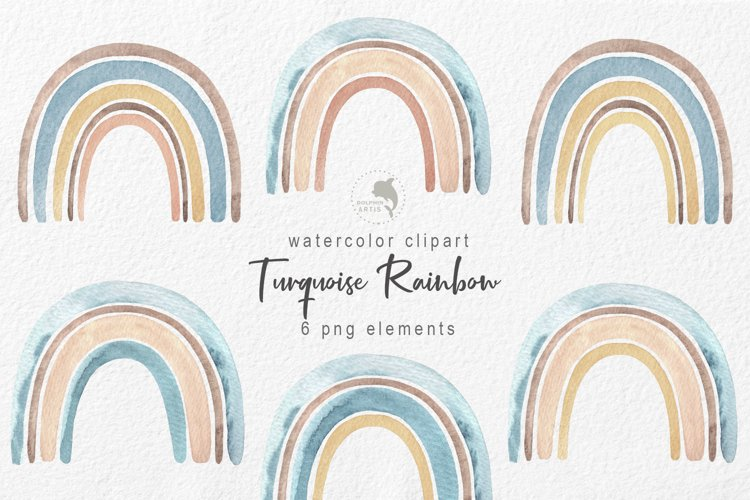 Watercolor turquoise rainbow example image 1