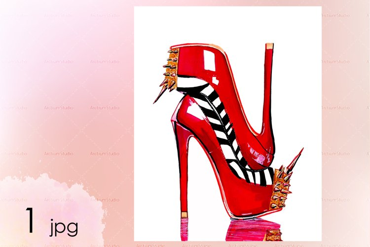Red heels with spikes. Zebra patterned heels with spikes art