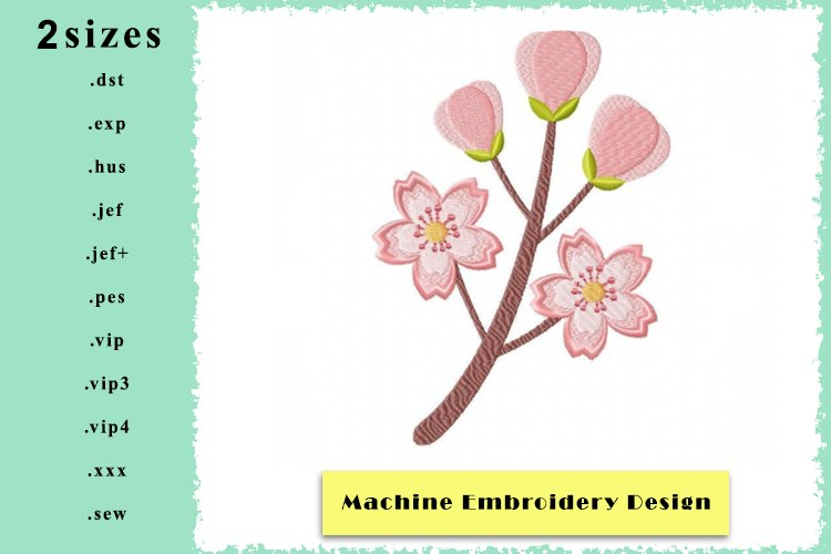 Cherry Blossom Machine Embroidery Design in 2 sizes